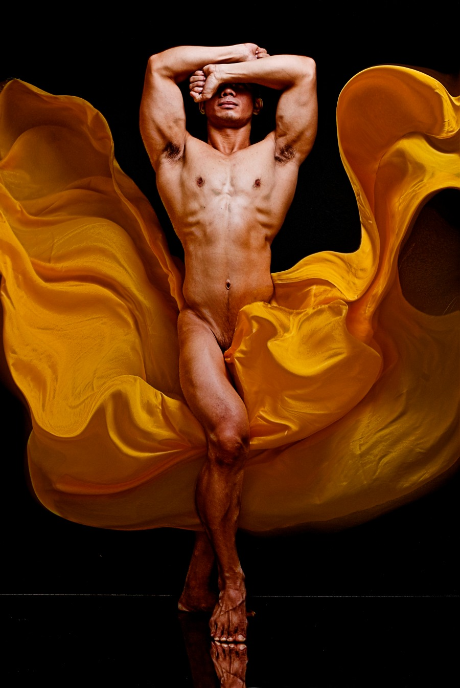 """""""The center piece of my work, Helios (KEP 24x36 001), shows masculinity, flow,  captured motion and beauty.""""- Klaus Estanislao"""